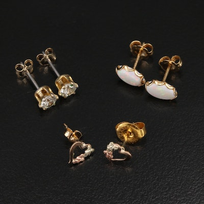 10K and 14K Gemstone Stud Earrings with Opal and Cubic Zirconia
