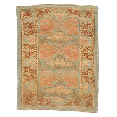 4'2 x 5'5 Hand-Knotted Turkish Donegal Area Rug