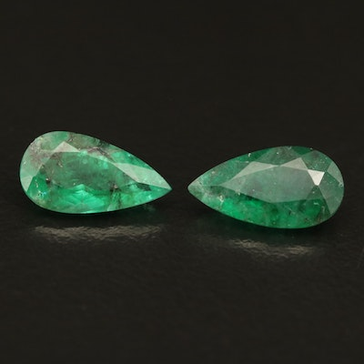 Loose 2.56 CTW Matched Pair of Emeralds