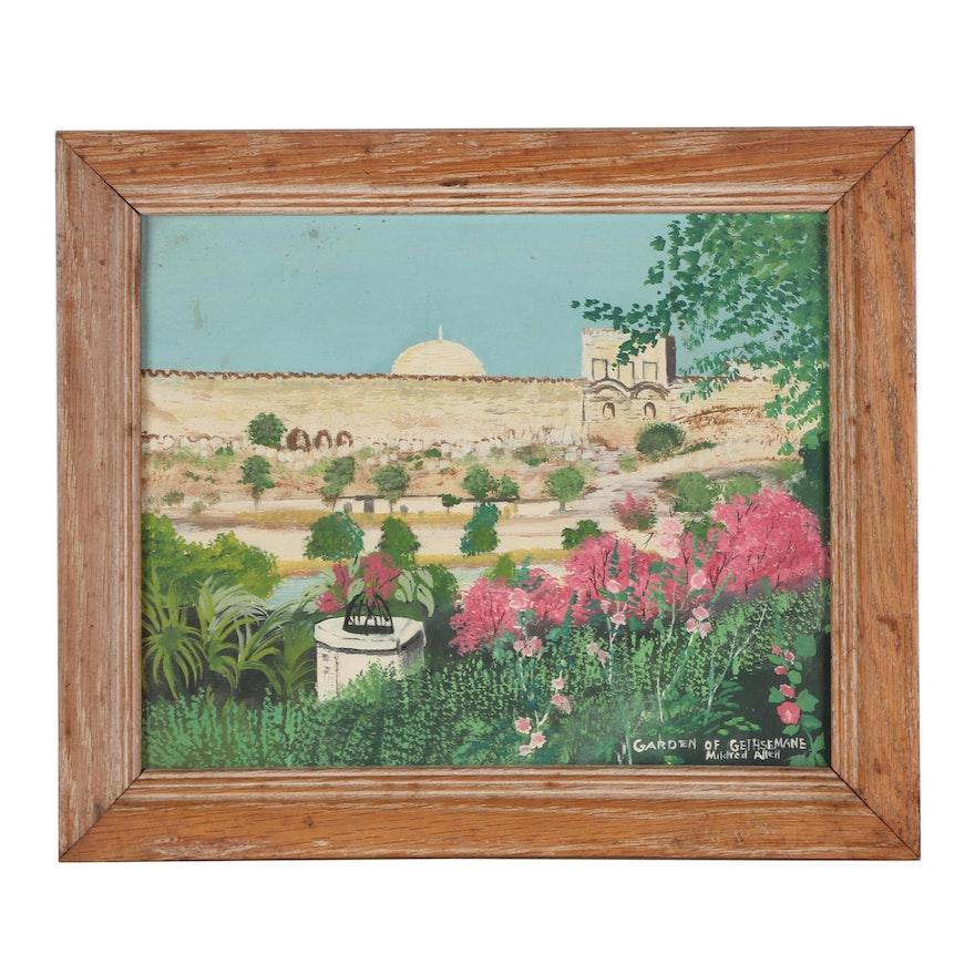 """Mildred Allen Oil Painting """"Garden of Gethsemane,"""" Mid-20th Century"""