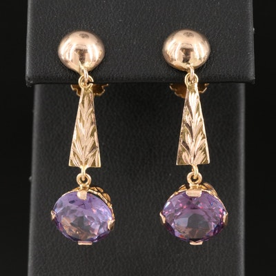 14K Sapphire Drop Earrings
