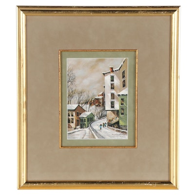 Robert Fabe Offset Lithograph of Winter City Scene
