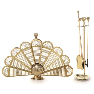 Brass Peacock Folding Fireplace Screen and Tool Set, Late 20th Century