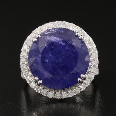 14K 18.09 CT Tanzanite and 1.58 CTW Diamond Halo Ring