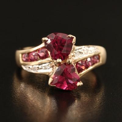 10K Rhodolite Garnet and Diamond Heart Ring