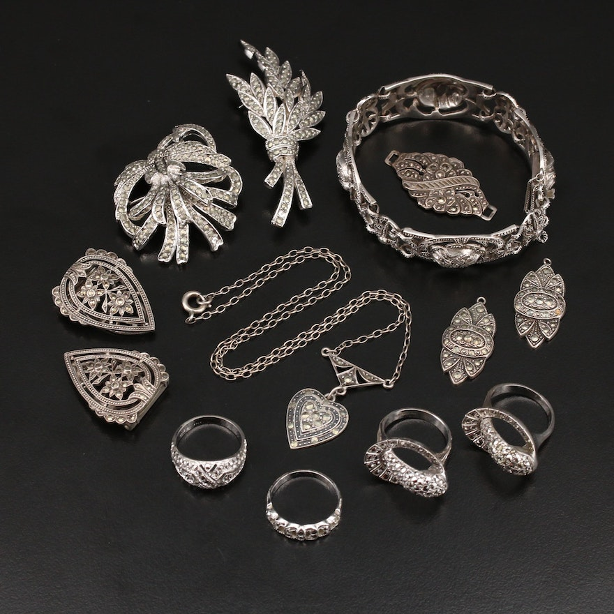 Sterling Marcasite Jewelry Collection with Openwork Floral Panel Bracelet