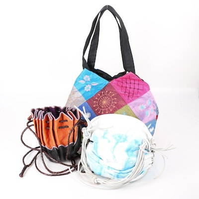 David Galan Hand-Painted White Satchel with Other Tote and Crossbody Bags