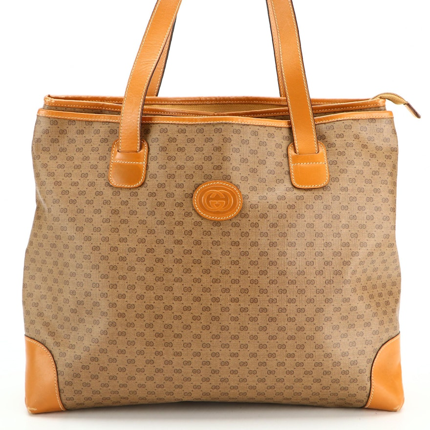 Gucci Large Zip Tote in Micro GG Coated Canvas with Leather Trim