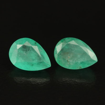 Loose 1.43 CTW  Matched Pair of Emeralds