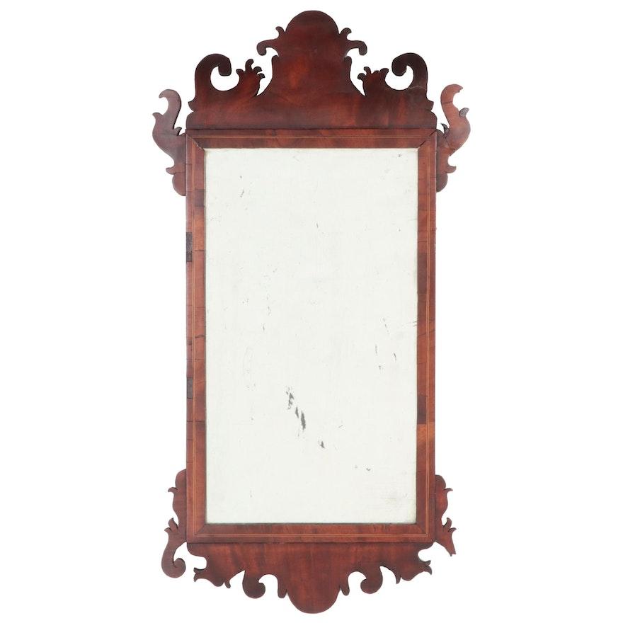English George III String Inlaid Mahogany Wall Mirror