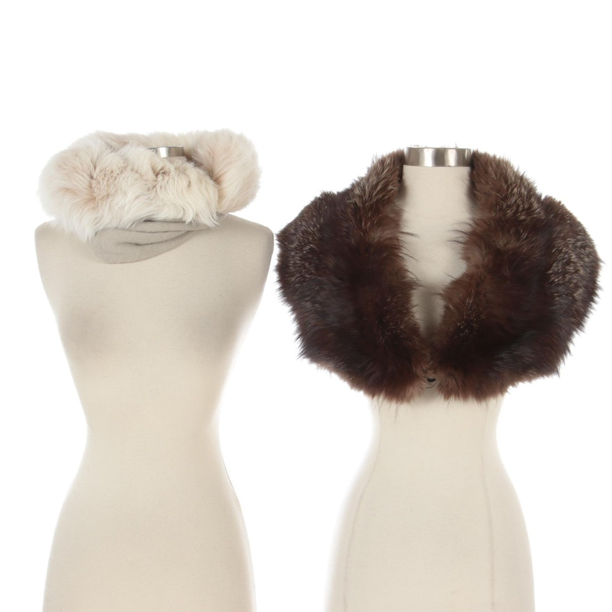 Silver Fox Fur Stole and Wool Snood with Fox Fur Trim