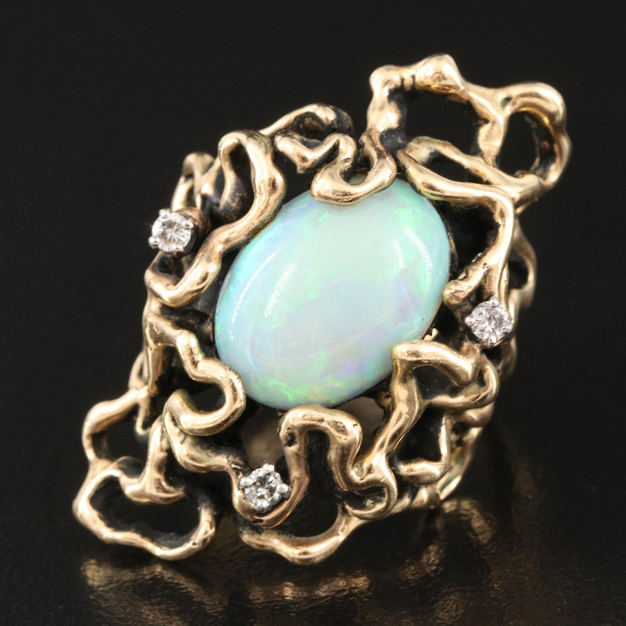 14K Opal Doublet and Diamond Biomorphic Ring