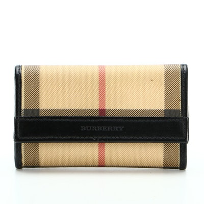 Burberry Key Holder in ''Nova'' Check Coated Canvas and Black Leather