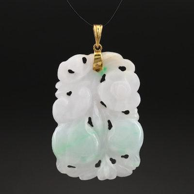 14K Carved Jadeite Floral and Fruit Hololith Pendant