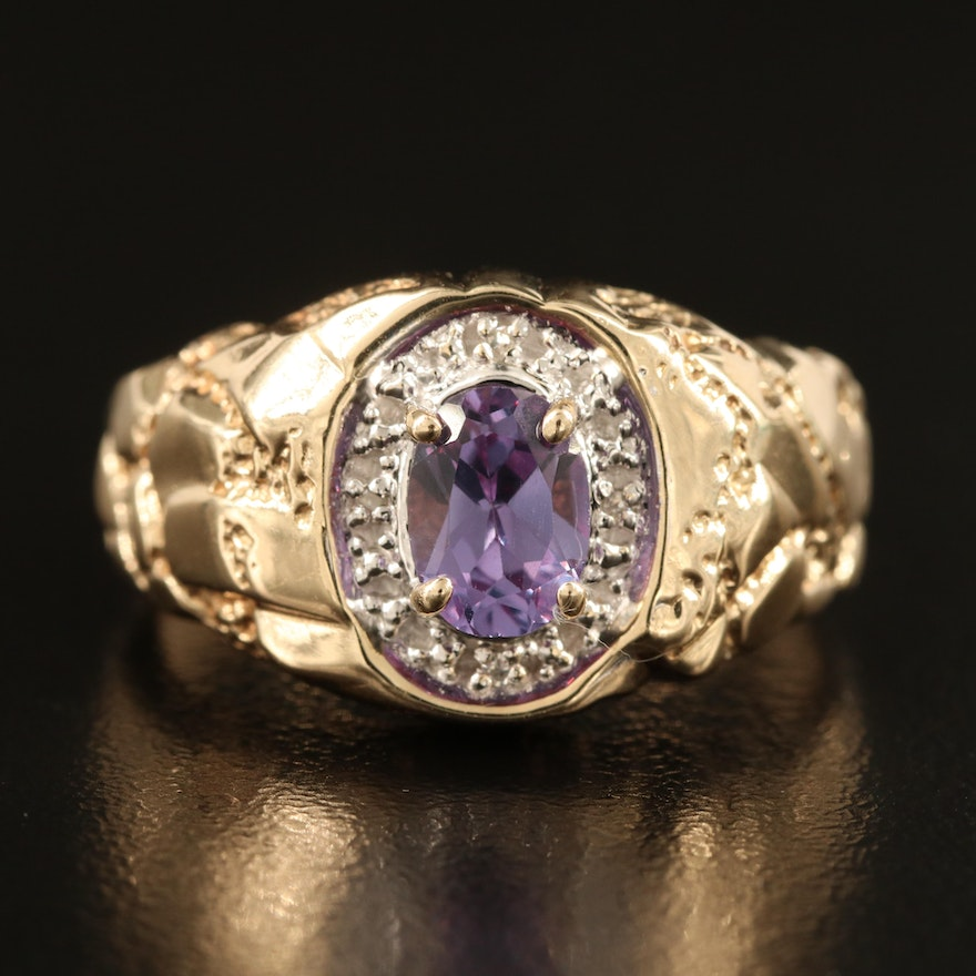 10K Color-Change Sapphire and Diamond Ring