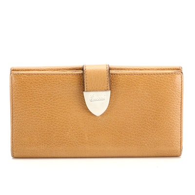 Gucci Continental Long Wallet in Dark Tan Pebbled Leather