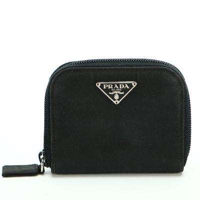 Prada Zipper Accordion Coin Purse in Black Nylon