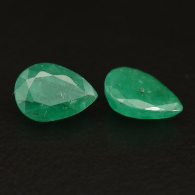 Loose 1.29 CTW Matched Pair of Emeralds