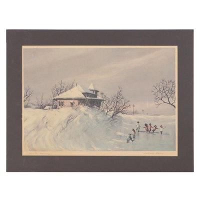 """Robert Fabe Landscape Offset Lithograph """"Winter Morning,"""" Late 20th Century"""