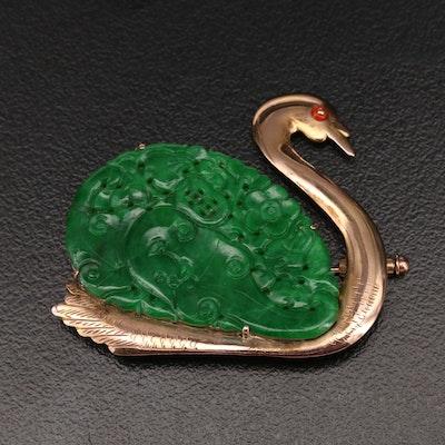10K Jadeite Swan Brooch