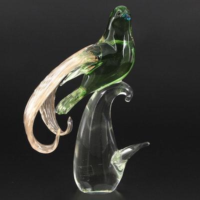 "Murano Formia ""Emperor of Germany"" Art Glass Bird Figurine, Late 20th Century"