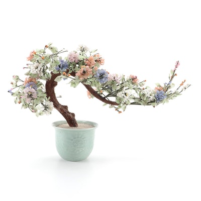 Chinese Floral and Foliate Glass Bonsai Tree in Celadon Ceramic Base