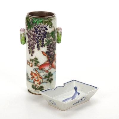 Japanese Ginbari Foil Cloisonné Vase with Blue and White Porcelain Dish
