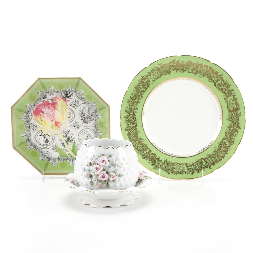 Coalport Bone China Dinner Plate with Other Porcelain and Glass Tableware