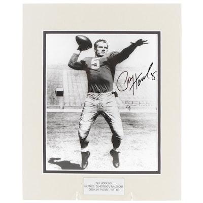 Paul Hornung Signed Green Bay Packers (1957-1966) Football Print, PSA/DNA COA