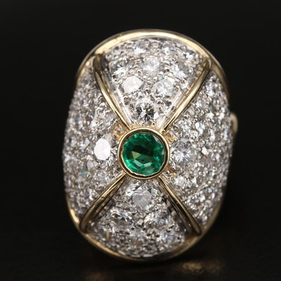 18K Emerald Dome Ring with 7.10 CTW Diamonds Set in Platinum