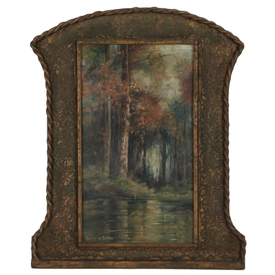 Lucile LeMaster Landscape Oil Painting of Forest Interior