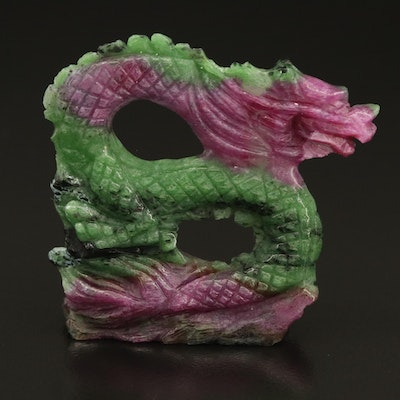 Carved Ruby in Zoisite Dragon