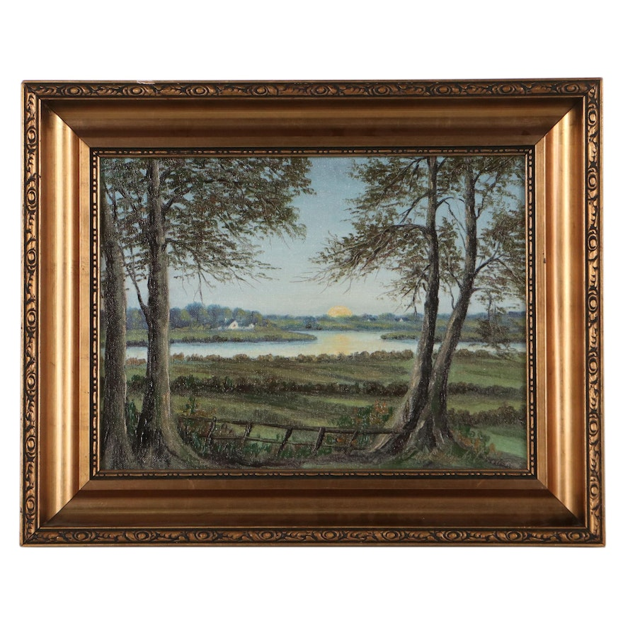 Landscape Oil Painting of Sunset Over Lake, Mid-20th Century