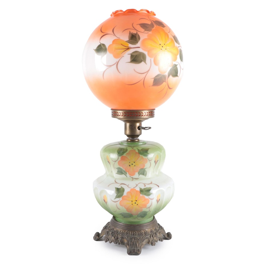 Hand-Painted Floral Parlor Oil Lamp, Electrified, Early/Mid 20th C