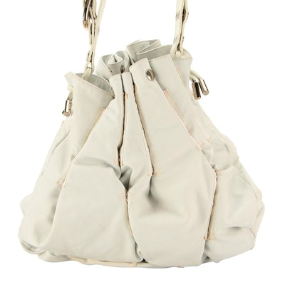 D&G Dolce & Gabbana White Leather Expandable Hobo Bag