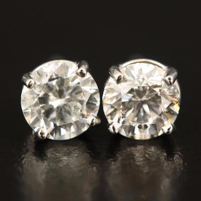 Platinum 1.46 CTW Diamond Stud Earrings with GIA Reports