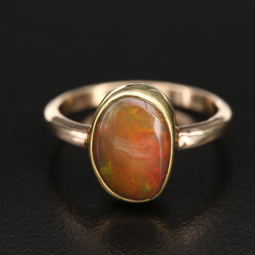 Artisan Signed Opal Cabochon Ring in 14K