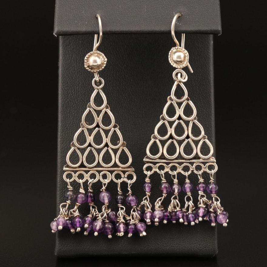 Sterling Amethyst Fringe Earrings