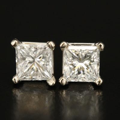 18K 2.01 CTW Diamond Stud Earrings with GIA Reports