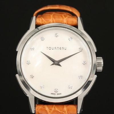 Tourneau Mother of Pearl Diamond Dial Wristwatch