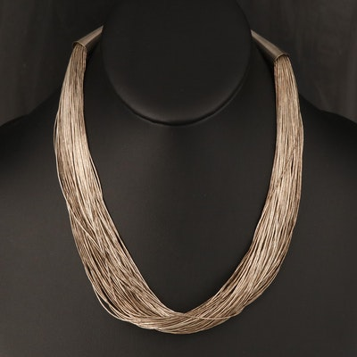 Sterling 100 Strand Liquid Silver Necklace