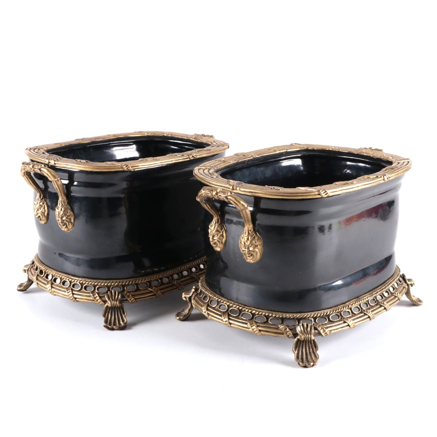 Andrea by Sadek Rococo Style Brass Mounted Ceramic Planters