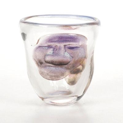 Andy Hudson Handblown Art Glass Face Vase, 2017