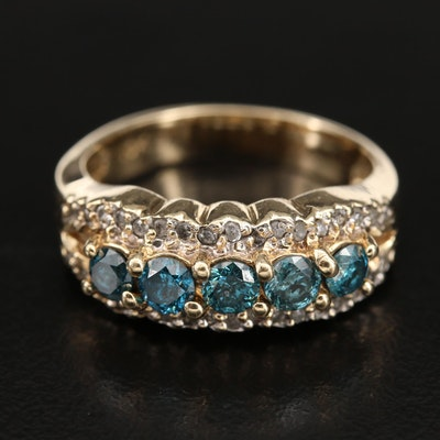10K 0.89 CTW Diamond Ring with Scalloped Edge