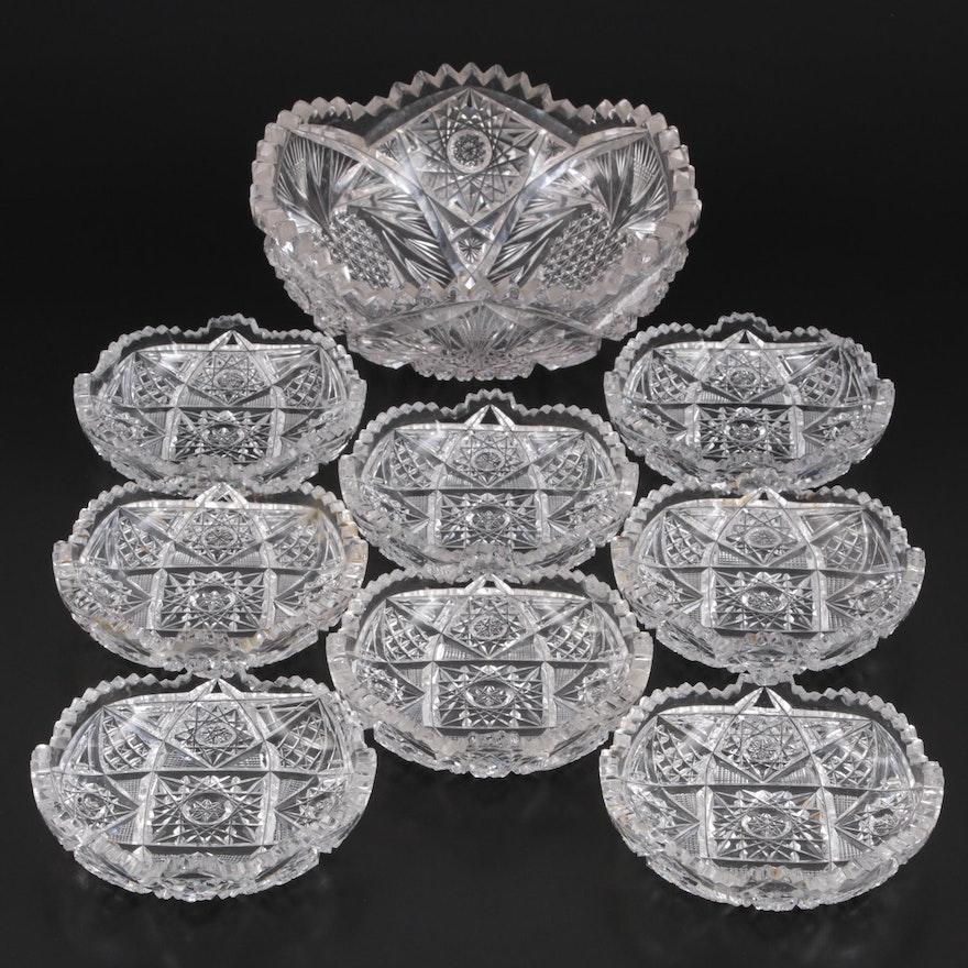 American Brilliant Style Decorative Cut Crystal Serving Bowls