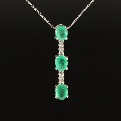 Emerald and Diamond Drop Pendant Necklace in 14K