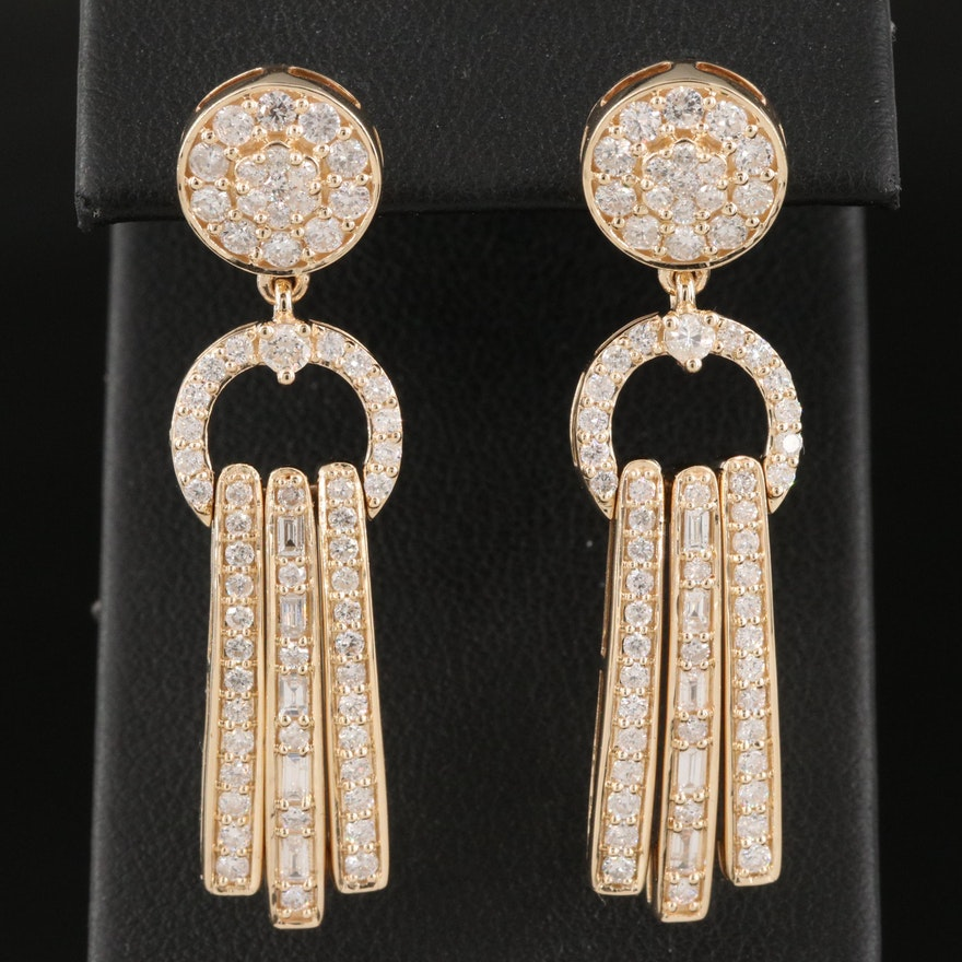 14K 2.21 CTW Diamond Door Knocker Earrings