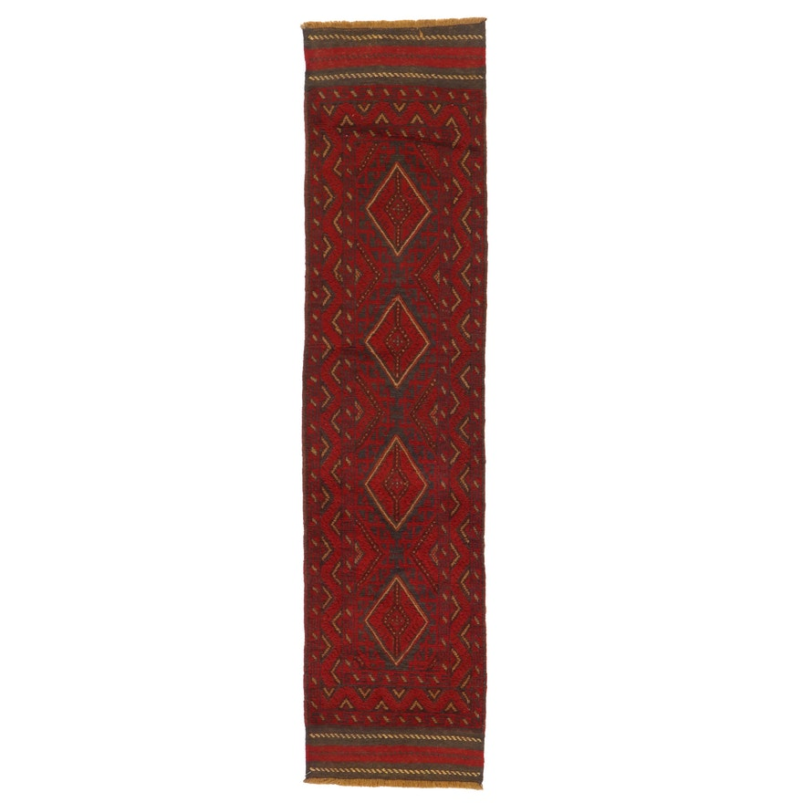 2' x 8'6 Hand-Knotted Afghan Turkmen Mixed Technique Carpet Runner