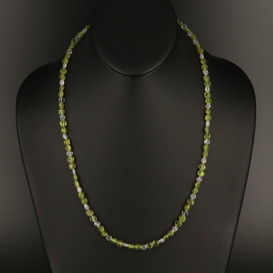 Aquamarine and Peridot Beaded Necklace with Sterling Clasp