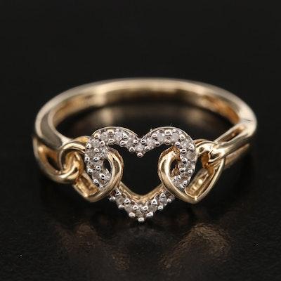 10K 0.05 CTW Diamond Interlocking Heart Ring